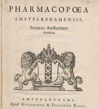 detail titelpagina pharmacopoea amstelredamensis
